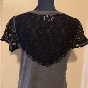 Urban Outfitters cute grey cotton lace tee
